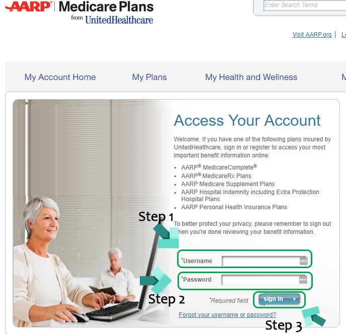 aarp healthcare login page