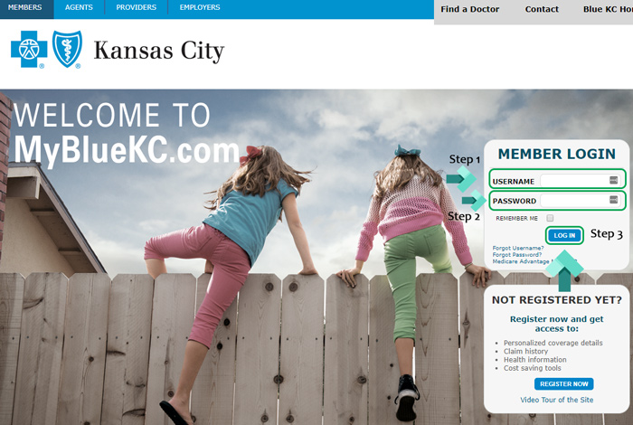 blue kc login page