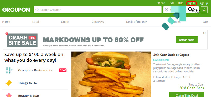 groupon website screenshot