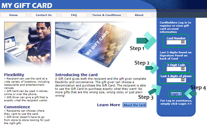 my gift card landing page