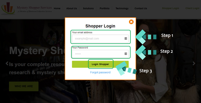 mystery shopper login instructions