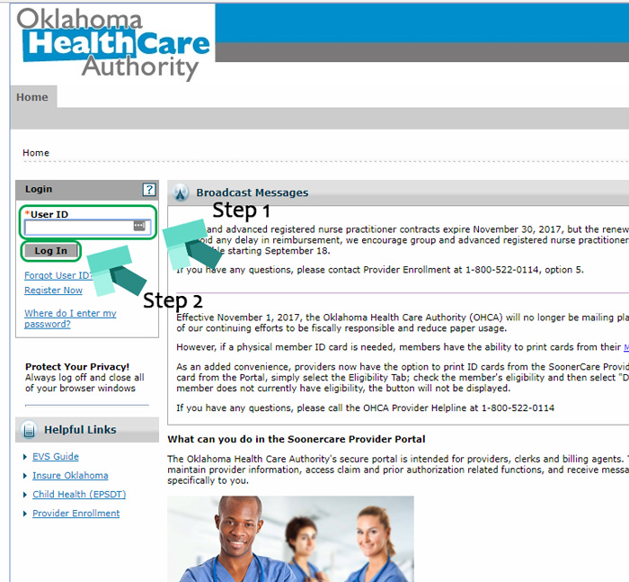 oklahoma health care authority login page