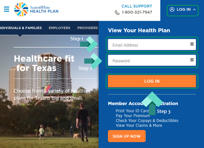 scott white healthcare landing page