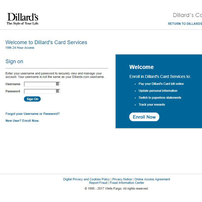 Dillards Card Pay Bill Online